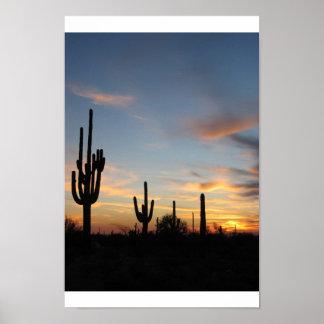Puesta del sol del cactus de Phoenix Arizona Impresiones