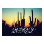 """Puesta del sol del cactus del Saguaro de Arizona Invitación 3.5"""" X 5"""""""