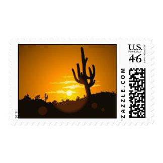 Puesta del sol del cactus - sello