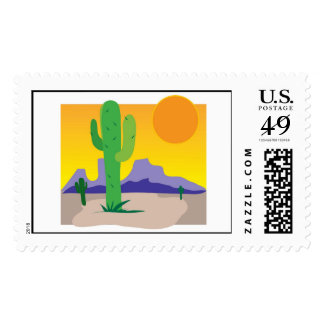 Puesta del sol del cactus timbres postales