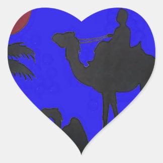 Puesta del sol del cielo azul del safari de Hakuna Pegatina En Forma De Corazón
