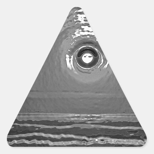 Puesta del sol del cromo pegatina triangular