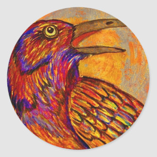 Puesta del sol del cuervo etiquetas redondas