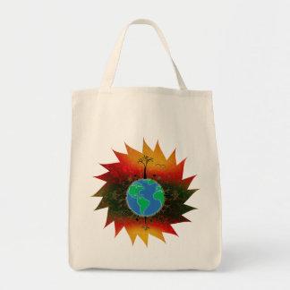 Puesta del sol del ~ del Día de la Tierra Bolsa Tela Para La Compra