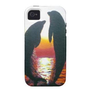 Puesta del sol del delfín Case-Mate iPhone 4 funda