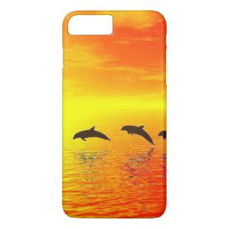 Puesta del sol del delfín funda iPhone 7 plus