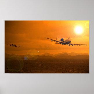 Puesta del sol del desierto A-10 Póster