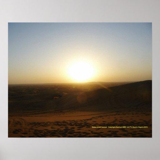 Puesta del sol del desierto de Dubai Poster