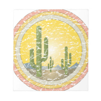 Puesta del sol del desierto del cactus bloc de notas