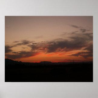 Puesta del sol del desierto impresiones