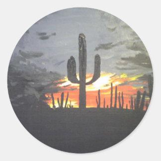 Puesta del sol del desierto pegatina redonda
