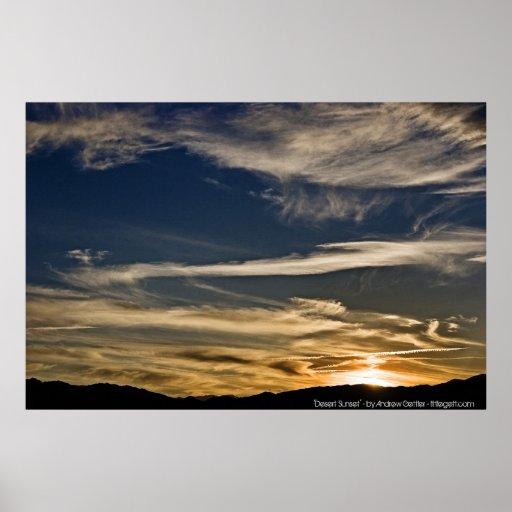 """""""Puesta del sol del desierto"""" - por Andrew Gettler Póster"""