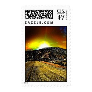 puesta del sol del desierto timbre postal