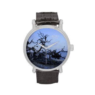 Puesta del sol del Driftwood Reloj