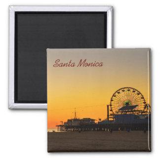 Puesta del sol del embarcadero de Santa Mónica Imán Cuadrado