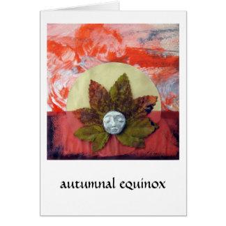 Puesta del sol del equinoccio otoñal - collage tarjeta de felicitación