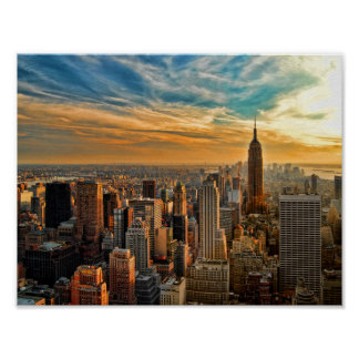 Puesta del sol del estado del imperio en New York Póster