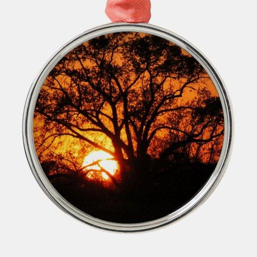 Puesta del sol del este de Tejas Adorno Navideño Redondo De Metal