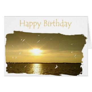 Puesta del sol del feliz cumpleaños al papá tarjeton