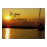 Puesta del sol del feliz cumpleaños tarjetas