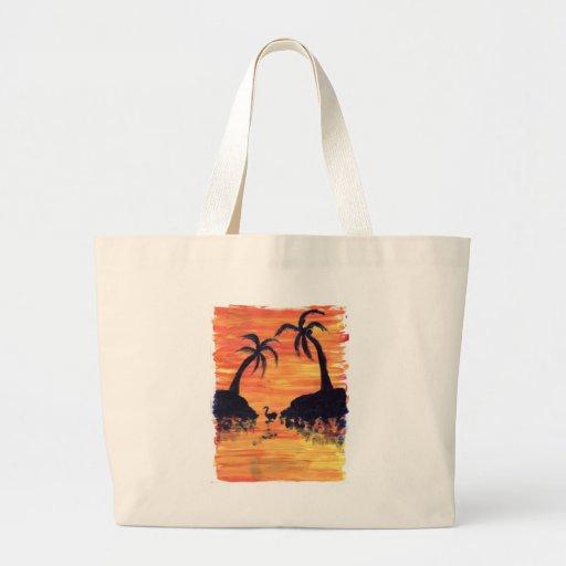 Puesta del sol del flamenco bolsa tela grande