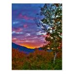 Puesta del sol del follaje de otoño de New Hampshi Tarjeta Postal