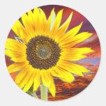 Puesta del sol del girasol pegatina redonda