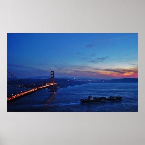 Puesta del sol del Golden Gate Poster