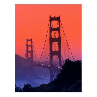 Puesta del sol del Golden Gate Tarjeta Postal