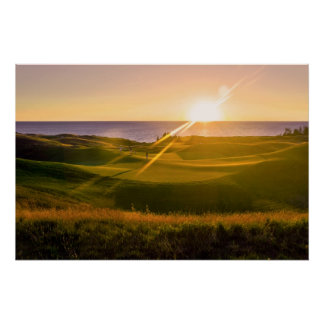 Puesta del sol del golf posters