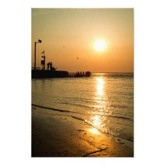 Puesta del sol del golfo cojinete