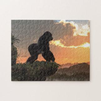 Puesta del sol del gorila puzzles con fotos