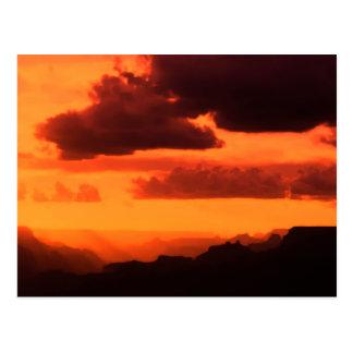 Puesta del sol del Gran Cañón Tarjetas Postales