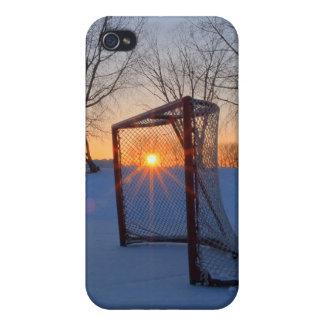 Puesta del sol del hockey de la charca iPhone 4/4S carcasa