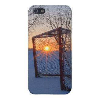 Puesta del sol del hockey de la charca iPhone 5 carcasa