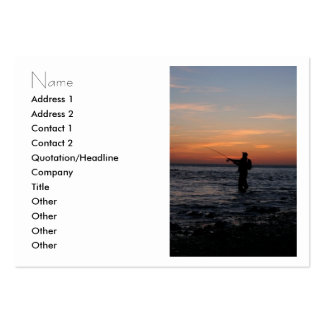 puesta del sol del hombre de la pesca. tarjeta tarjetas de visita grandes