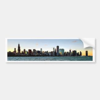 Puesta del sol del horizonte de Chicago Pegatina De Parachoque