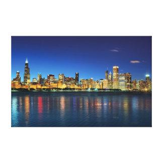 Puesta del sol del horizonte de Chicago Impresión En Lienzo Estirada