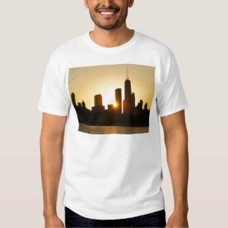 Puesta del sol del horizonte de Chicago Playera