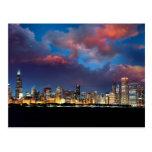 Puesta del sol del horizonte de Chicago Postal