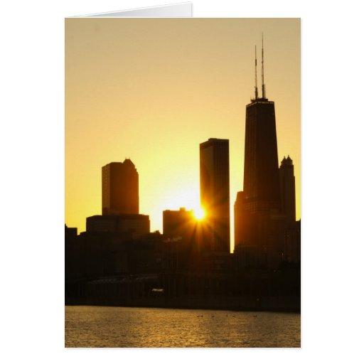 Puesta del sol del horizonte de Chicago Tarjeta De Felicitación