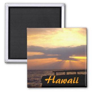Puesta del sol del horizonte de Hawaii Imán Cuadrado