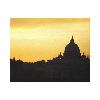 Puesta del sol del horizonte de Roma Lona Estirada Galerías