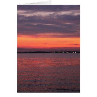 Puesta del sol del horizonte de Verital Tarjeta Pequeña