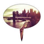 Puesta del sol del horizonte - puente de Brooklyn  Palillos De Tarta