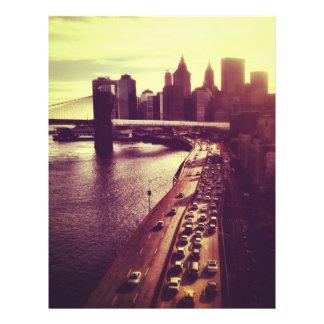 Puesta del sol del horizonte - puente de Brooklyn  Membrete
