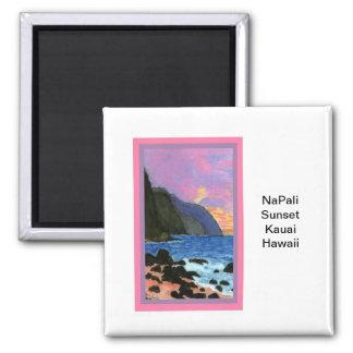 Puesta del sol del Imán-NaPali, Kauai, Hawaii Imán Cuadrado