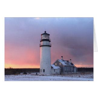 Puesta del sol del invierno de Cape Cod del faro Tarjeta De Felicitación