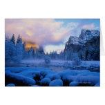 Puesta del sol del invierno en el parque nacional  tarjeta de felicitación