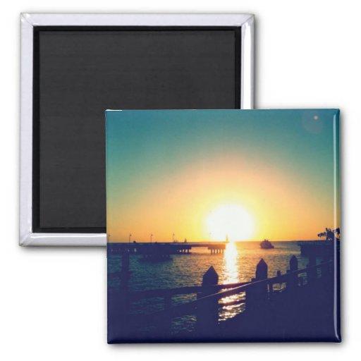 Puesta del sol del invierno en los imanes de Key W Imanes